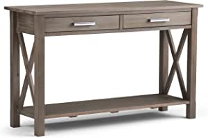 Simplihome Kitchener Solid Wood 47 Inch Wide Contemporary Modern Console Sofa Entryway Table In Distressed Grey With Storage 2 Drawers And 1 Shelf For The Living Room Entryway And Bedroom Furniture Decor Amazon Com