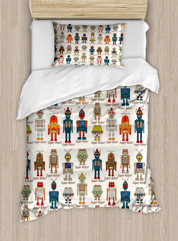 Ambesonne Robot Duvet Cover Set, Various Different Super Robot Set in Cartoon Style Fantasy Futuristic Machine, Decorative 2 Piece Bedding Set with 1 Pillow Sham, Twin Size, Dim Cream