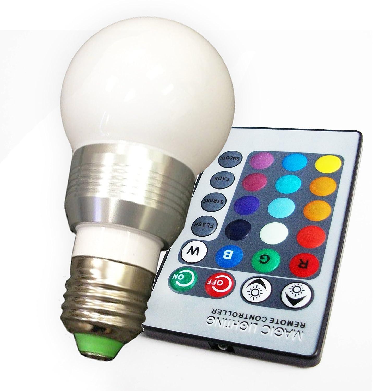 3w Rgb Color Changing Led Globe Light Bulb W 24 Key Ir Remote E26 E27 Base 300 Degree Beam