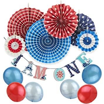 SUNBEAUTY Nautical 1st Birthday Party Decoration Kit Ahoy Baby Supplies For BoyPaper Fan