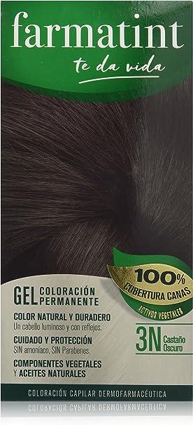 Farmatint Gel 3N Castaño Oscuro | Color natural y duradero | Componentes vegetales y aceites naturales | Sin amoníaco | Sin parabenos | ...