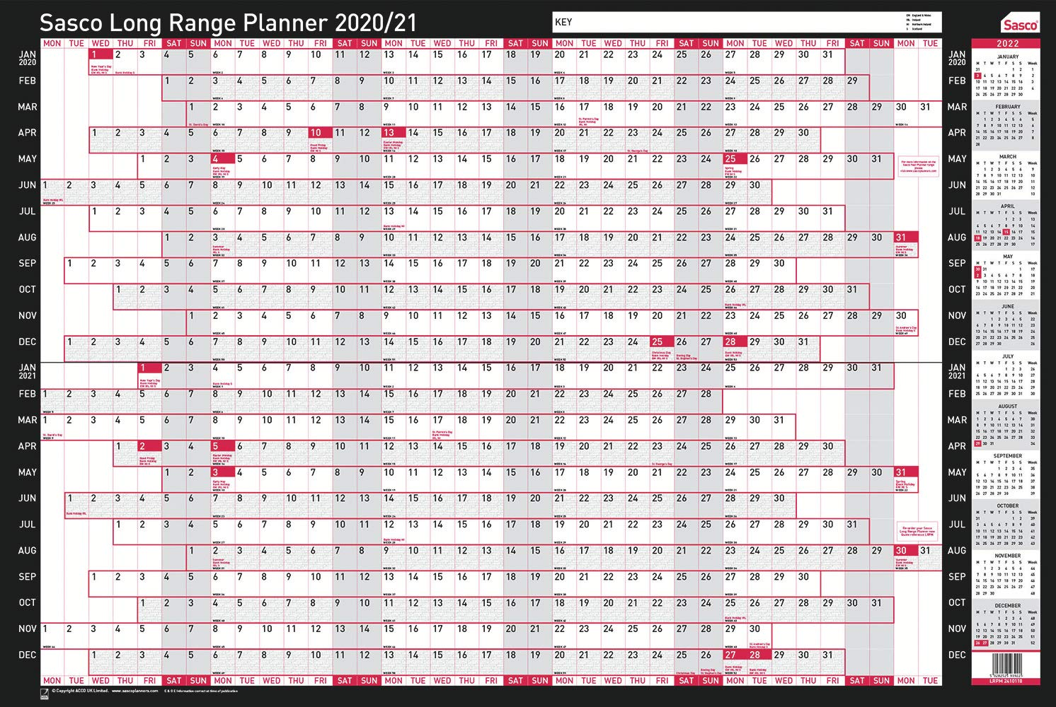 610 x 915 mm W x H 2410118 Sasco 2020//21 Board Mounted Long Range Planner with Wet Wipe Pen and Sticker Pack