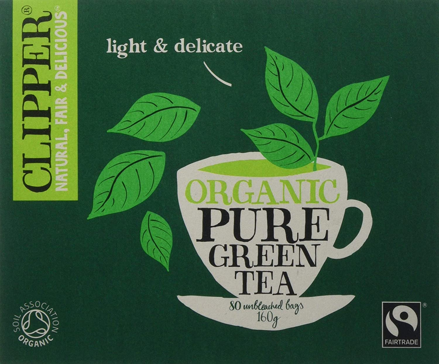 Clipper Organic Fairtrade Pure Green 80 Tea bags (Pack of 6, Total 480 Teabags)