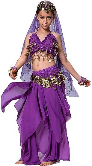 Seawhisper Traje Danza Oriental Baile Del Vientre Conjunto Disfraz De Bailarina Halloween para Niñas