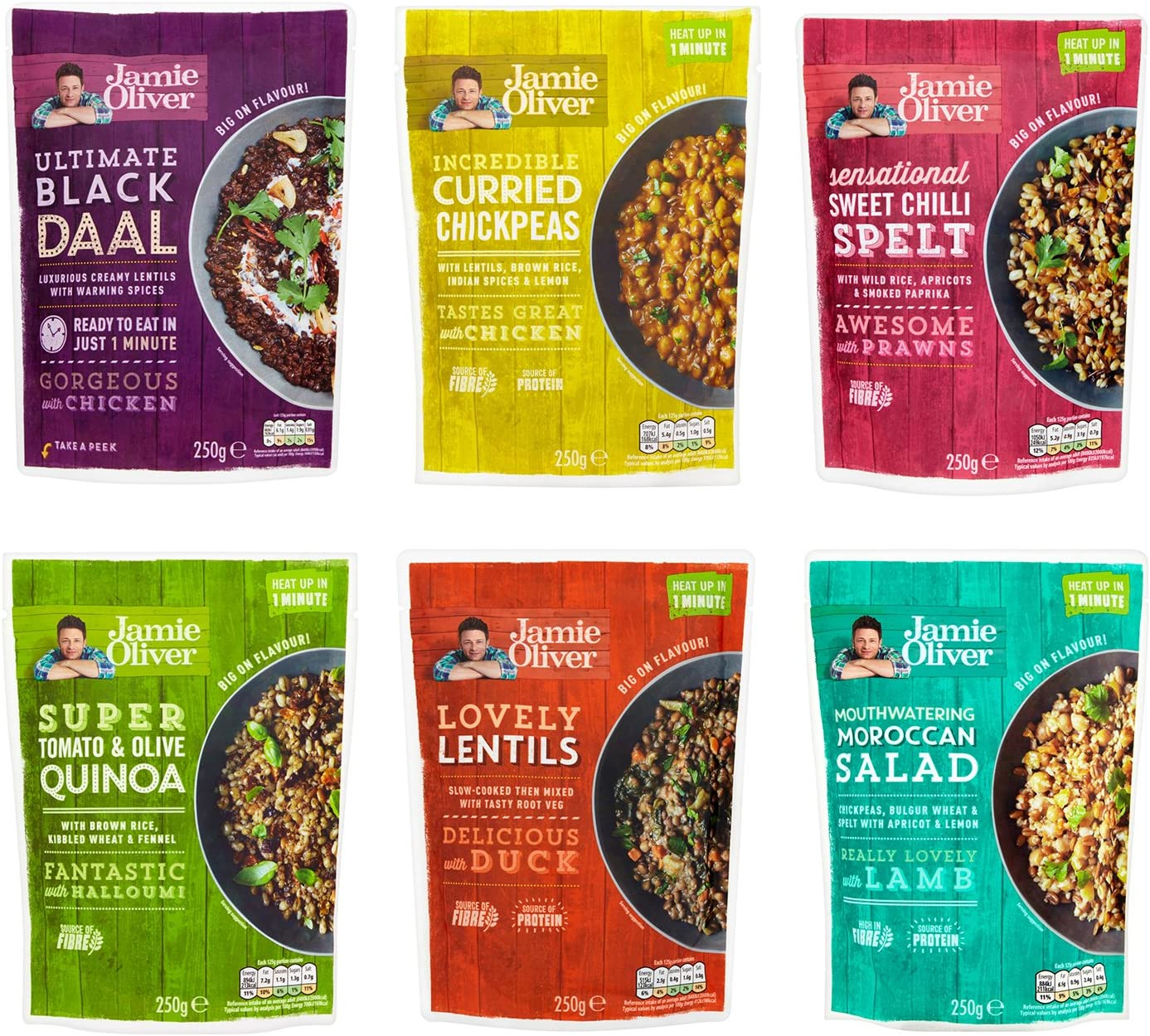 Jamie Oliver Healthy Selection Of 6 Amazing Grains And Pulses Packs 1500g Amazon Co Uk Grocery