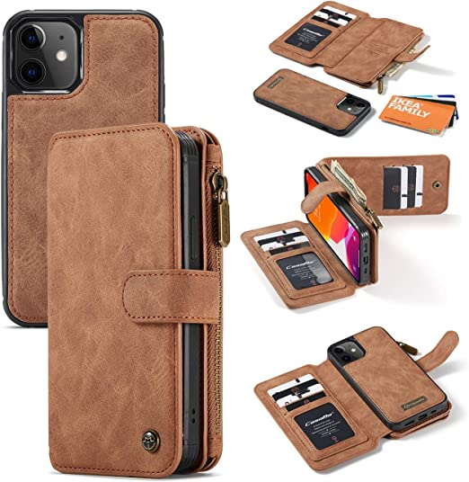 6.1 Magnetic Detachable RFID Protection Wallet Case with Card Slots Leather Apple iPhone 12 /& iPhone 12 Pro iPhone 12 Pro Back Cover