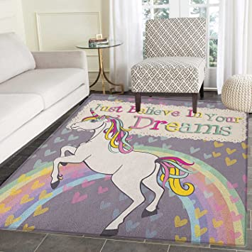 Amazon Com Teen Girls Area Rug Carpet Unicorn Figure With Believe