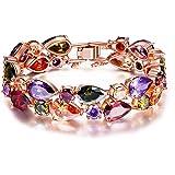 """Pauline & Morgen """"Boemia Chic"""" Bracciale Donna-Gioielli Cristallo Multicolori-Colore Oro Rosa"""