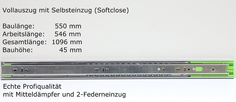 altura 45/mm con autocierre 1/hasta 8/pares longitudes de cierre en mm 250//300//350//400//450//500//550//600//650//700 Gu/ías de caj/ón telesc/ópicas