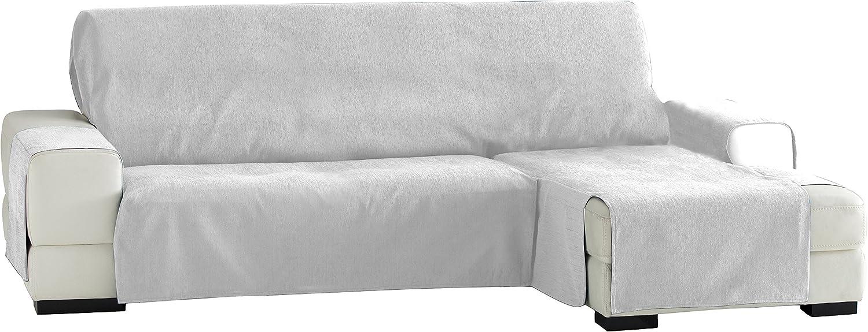 Eysa Fundas de Sofa Prácticas, Chaise Longue 240 cm, Derecha Vista Frontal, Tela, Blanco, Tres Plazas
