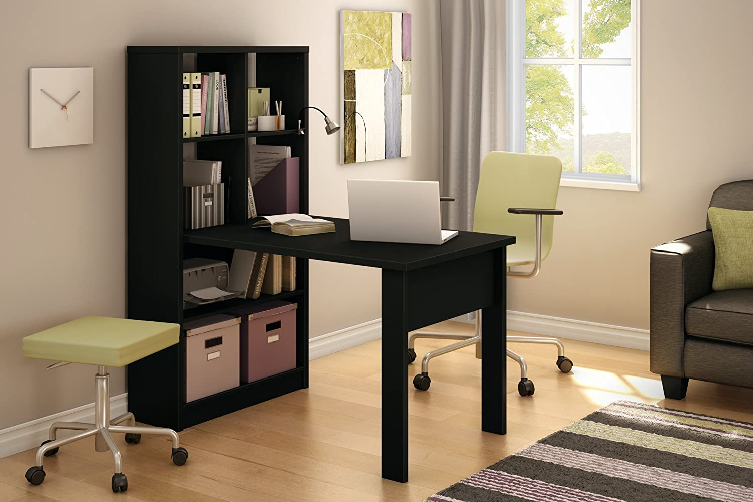 office table with storage. amazoncom south shore annexe collection work table and storage unit combo pure black kitchen u0026 dining office with f