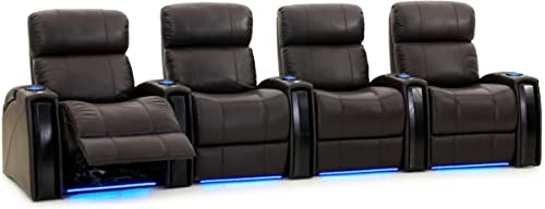 Octane Seating Nitro XL750 Home Theater Room Furniture – Brown Top Grain Leather – Power Recline – Row 4 Chairs – Lights – Storage Arms