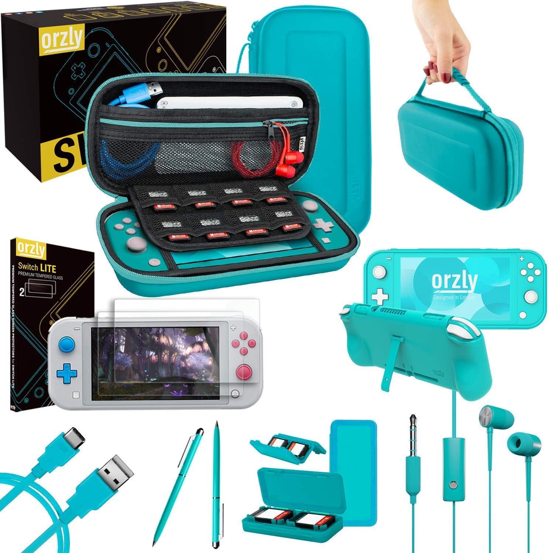 Orzly Paquete de Accesorios para Nintendo Switch Lite – Incluye: Protectores de Pantalla & Funda para Switch Lite Consola, Funda Comfort Grip, Cable USB, Auriculares y más. (Turquesa)