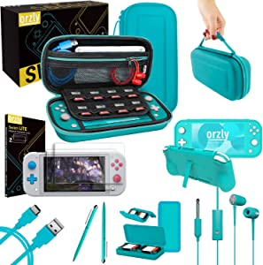 Orzly Switch Lite Accessories Bundle - Case & Screen Protector for Nintendo Switch Lite Console, USB Cable, Games Holder, Grip Case, Headphones, Thumb-Grip Pack & More (Gift Pack - Turquoise Blue)