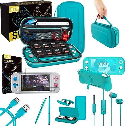 Orzly Paquete de Accesorios para Nintendo Switch Lite – Incluye: Protectores de Pantalla & Funda para Switch Lite ...
