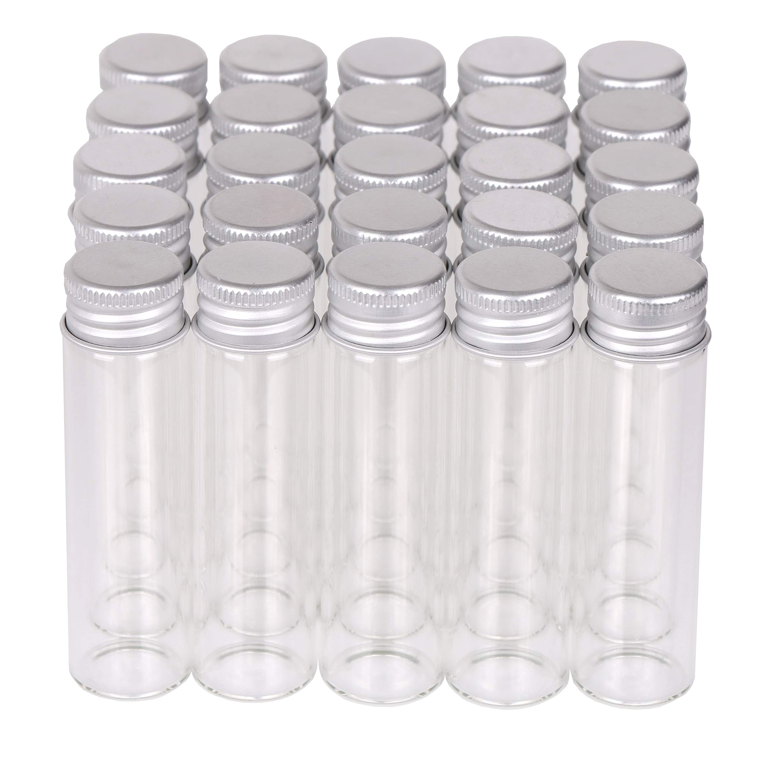 MaxMau Small Glass Bottles with Aluminum Screw lids Clear 20 Milliliter,100 Packs by MaxMau