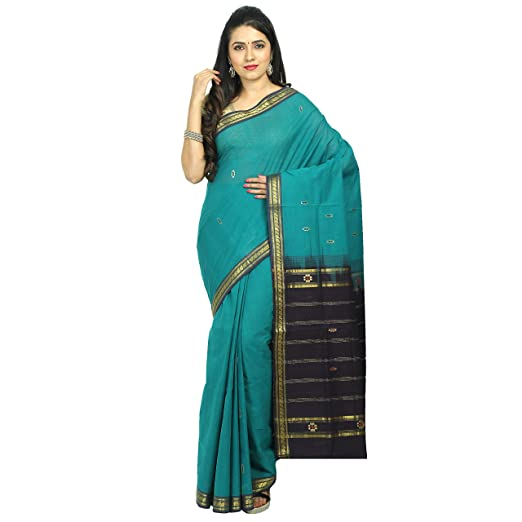 APCO (An Andhra Pradesh Govt. Enterprise) Handloom Women's Traditional Rajahmundry Cotton Saree Without Blouse Piece (Green)