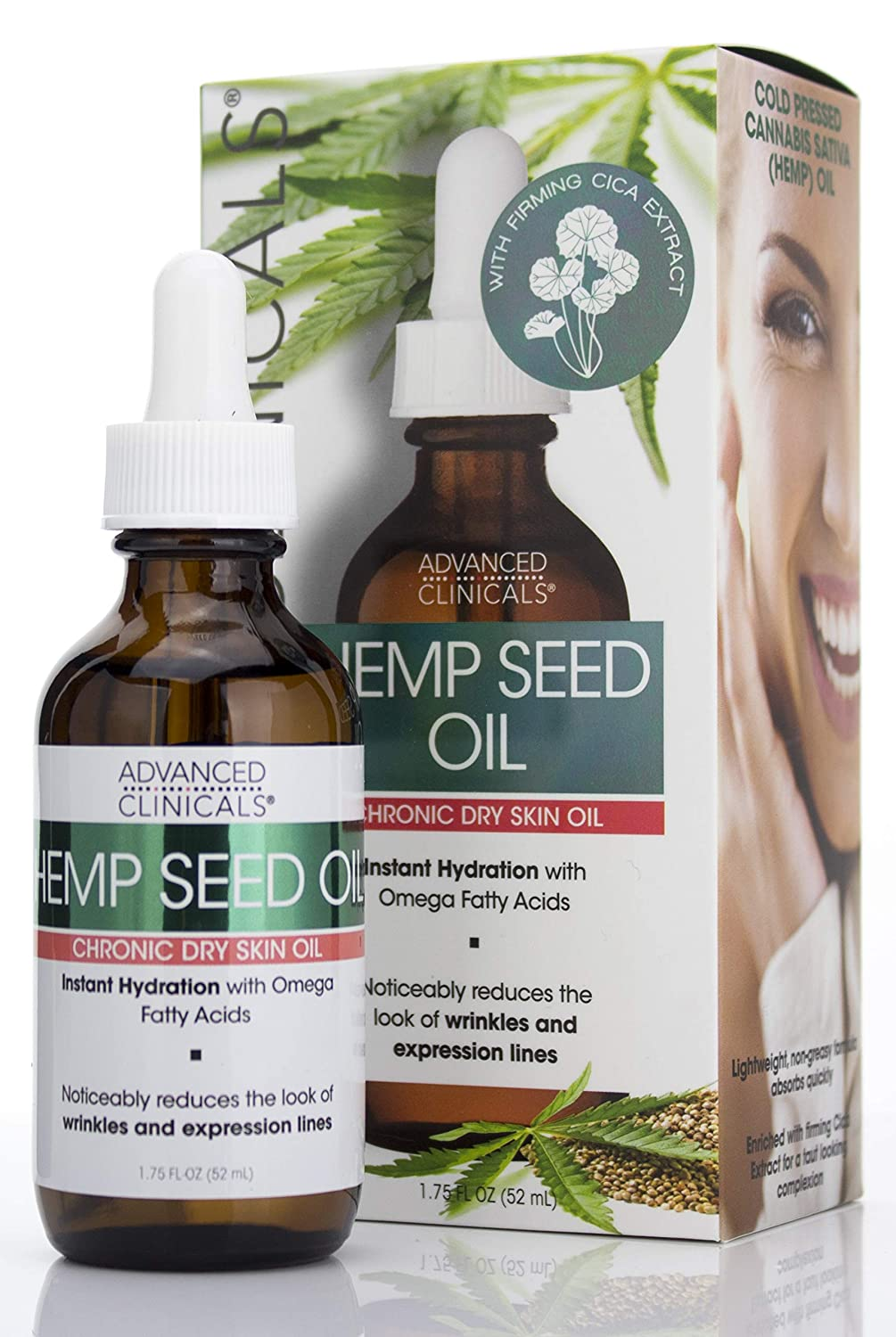 Advanced Clinicals Hemp Seed Oil for Face. Cold Pressed Cannabis Sativa oil instantly hydrates skin and helps with Wrinkles, Fine Lines, and Expression Lines. 1.75 FL OZ (1.75oz)