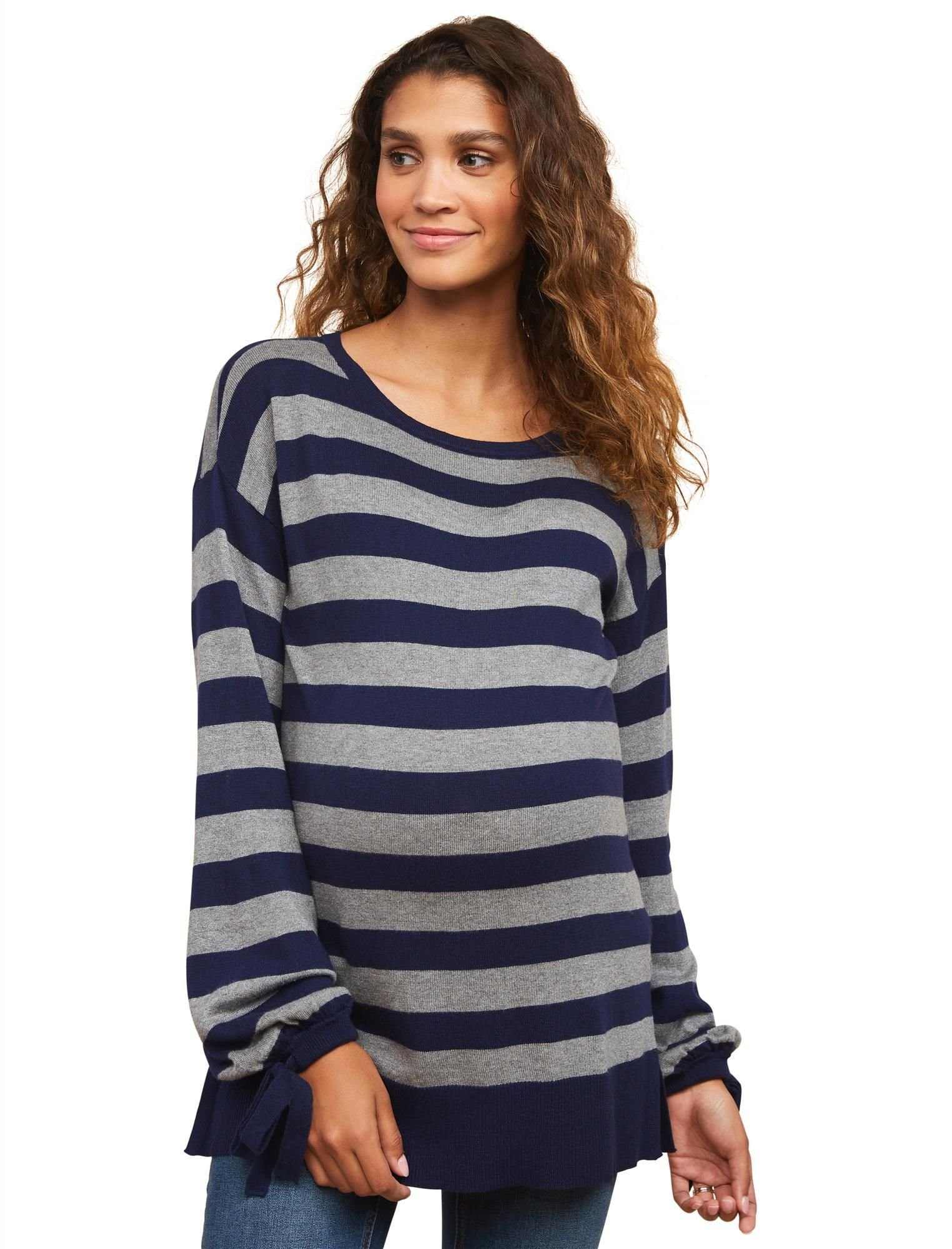 Motherhood Maternity Women's Maternity Balloon Long Sleeve Boxy Pullover Sweater, Navy and Grey Stripe, Medium