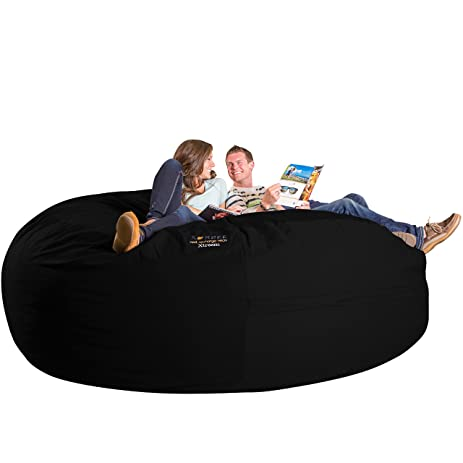 Xorbee 8 Foot Foam Filled Bean Bag Chair In Twill, Midnight Black