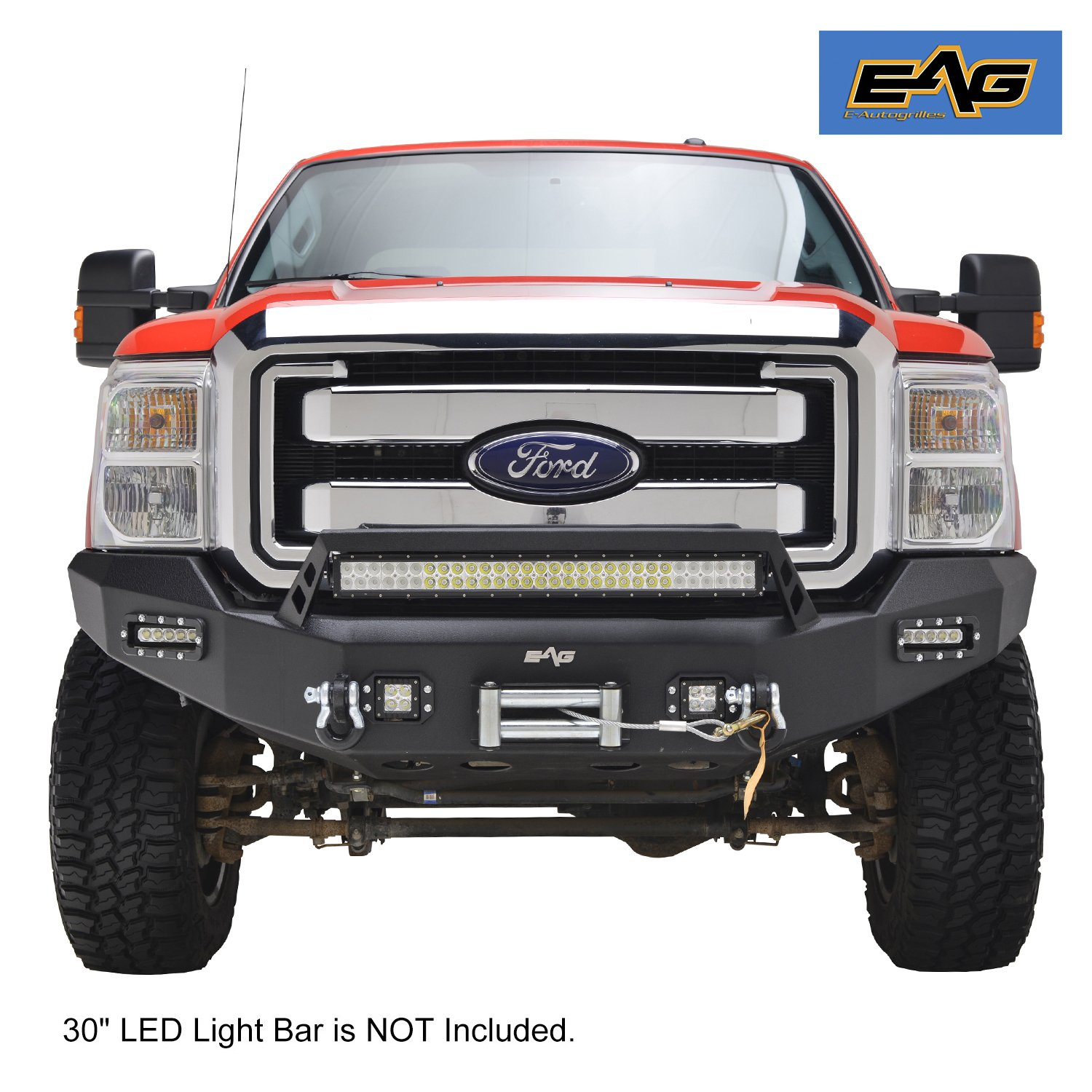 EAG 11-16 Ford Super Duty F250 F350 F450 Front Bumper With LED Lights Black Textured Full Width E-Autogrilles