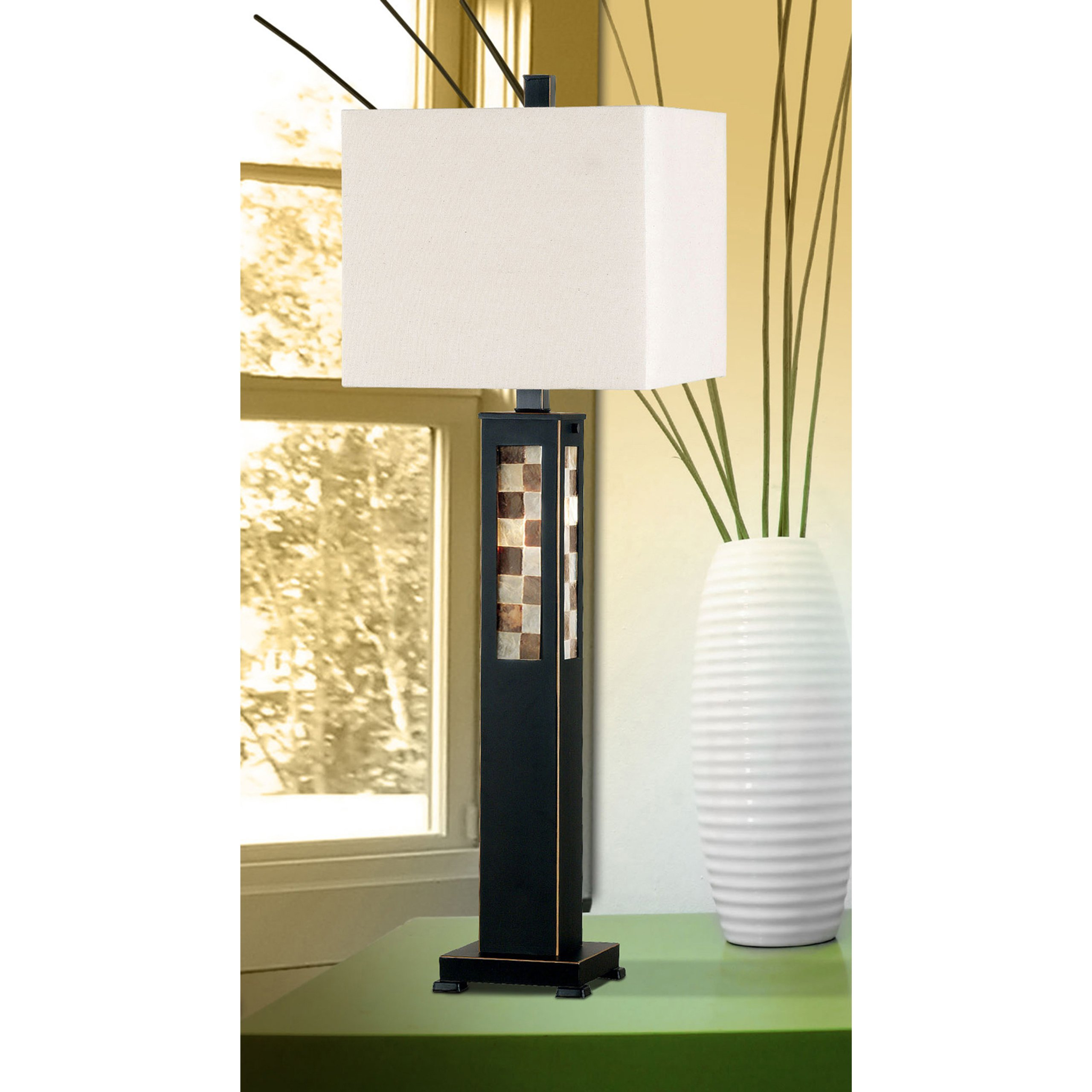 Kenroy Homes Windowpane Table Lamp with Oil Rubbed Bronze Finish and a Crème Square Shade