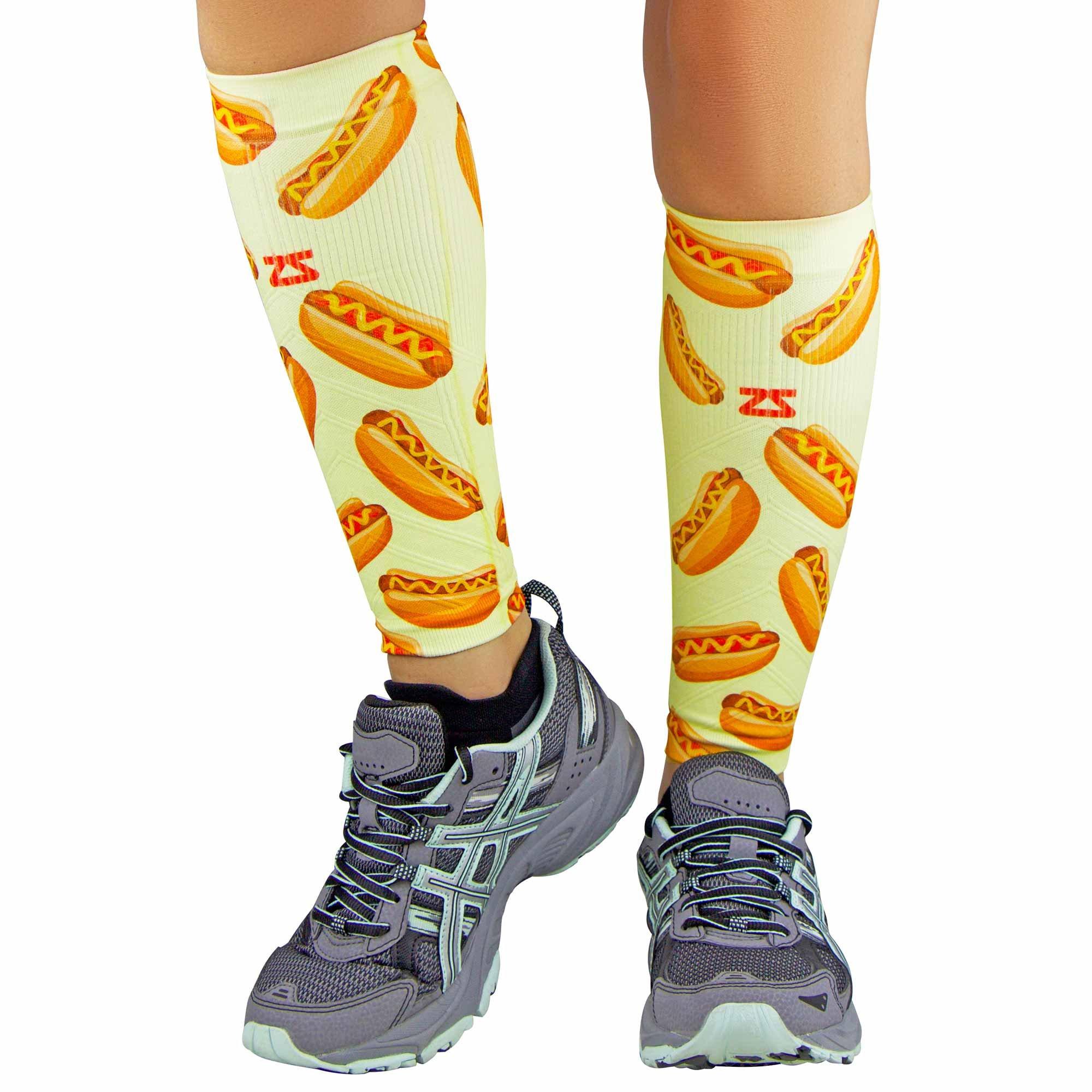 Zensah Print Compression Leg Sleeves - Hot Dogs // Mustard Yellow - L/XL by Zensah
