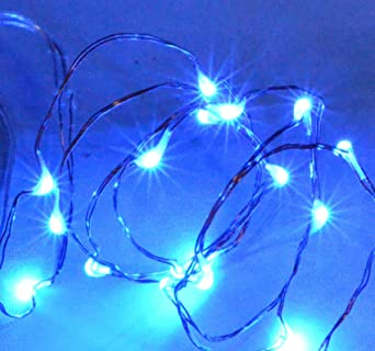 2 sets of 20 micro led 1m string of fairy rice lights battery powered blue - Micro Christmas Lights