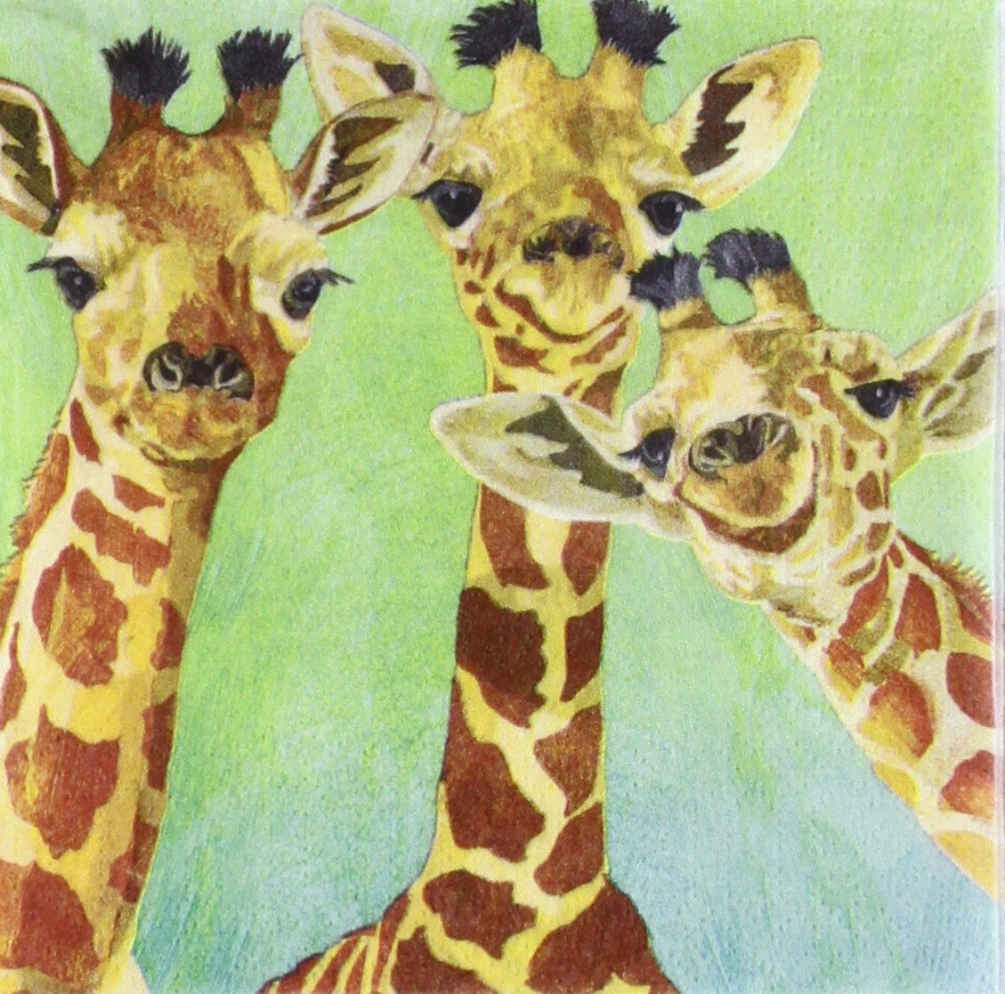 Paperproducts Design PPD 1252725 Giraffe Amigos Beverage/Cocktail Paper Napkins,5''x5'', Multicolor