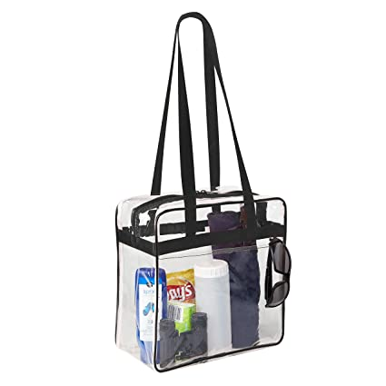 Amazoncom Clear 12 X 12 X 6 Stadium Tote Bag With Side Pocket And