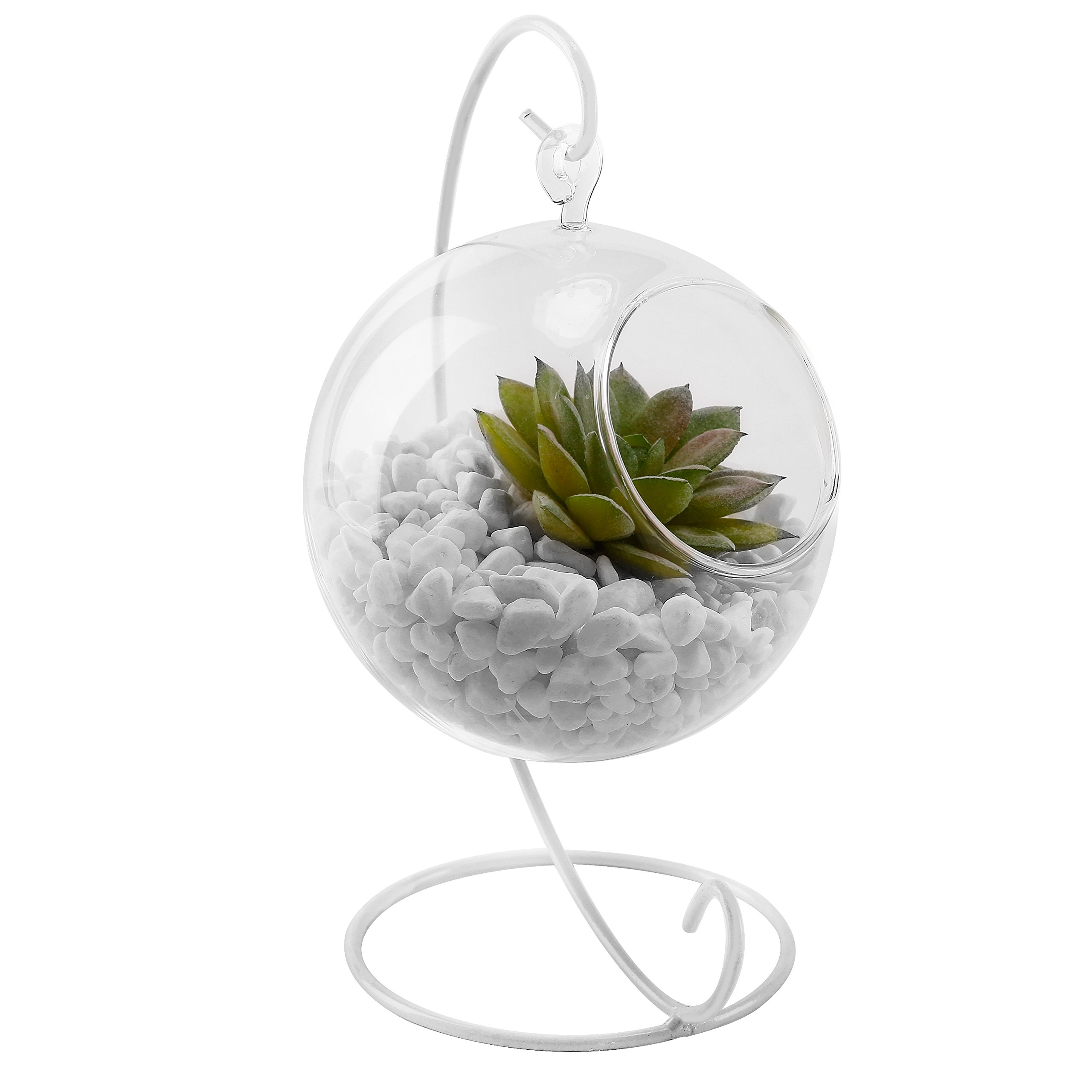 MyGift 4 Inch Clear Glass Hanging Terrarium Globe, Tea Light Candle Holder Lantern with White Metal Stand