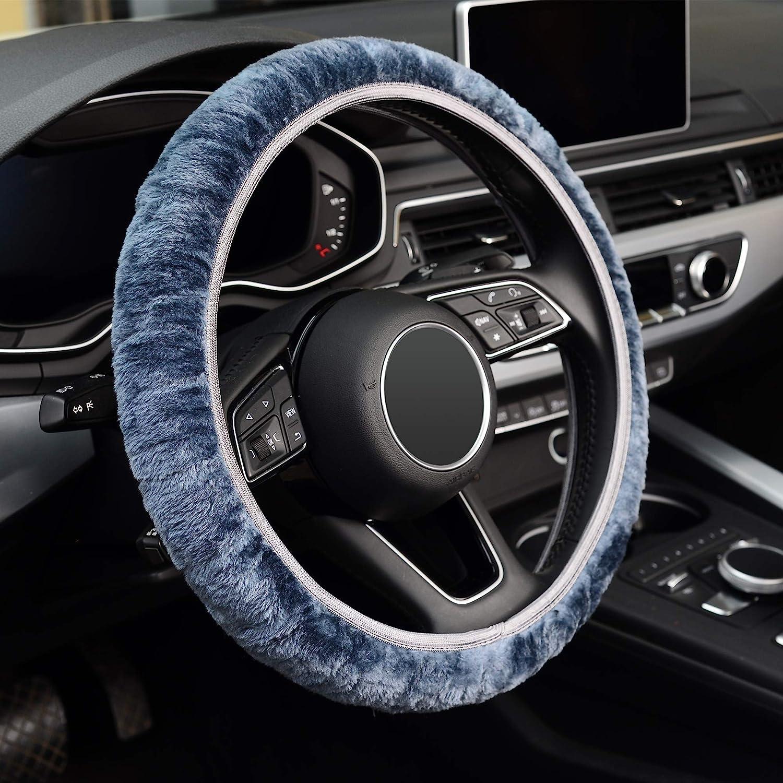 Odorless Breathable Anti-Slip ZHOL Universal 15 inch Steering Wheel Cover Elastic Plush Keep Warm Gray Color