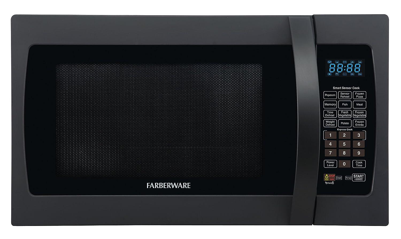 Farberware FMO13AHTBKF 1100-Watt Microwave Oven with Smart Sensor Cooking, ECO Mode and LED Lighting 1.3 cu. ft Matte Black