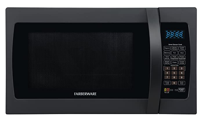 Farberware FMO13AHTBKF 1100-Watt Microwave Oven with Smart Sensor Cooking, ECO Mode and LED Lighting 1.3 cu. ft Matte Black
