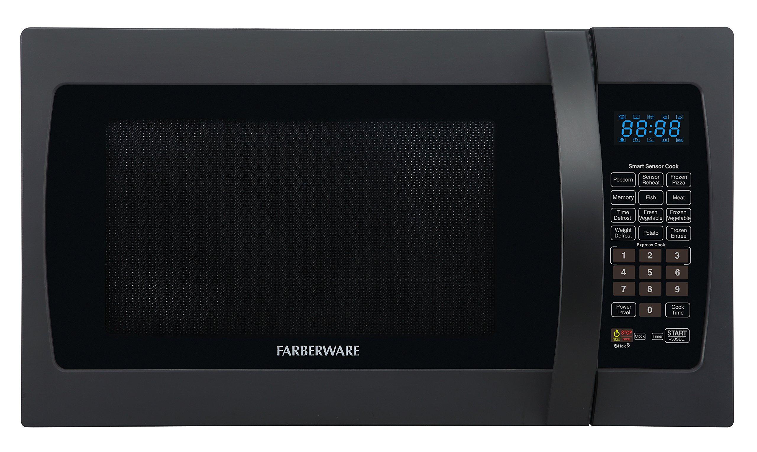 Farberware Professional FMO13AHTBKF 1.3 Cubic Foot 1100-Watt Microwave Oven with Sensor Cooking, Matte Black by Farberware
