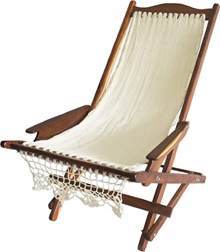 Wood Mayan Hammock Rocking Chair. Beach Chair in NYLON. Hand made knit.