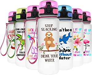 MELANIE'S POWER 22oz Motivational Sports Water Bottle with Time Marker, Fast Flow, Flip Top Leakproof BPA Free Non-Toxic 650ML Water Bottle for Kids, Gym, Hiking, Bicycle, Yoga(Sloth)