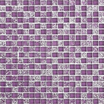 Qm Glas Mosaik Fliesen Matte In Lila Mit Gebrochener Und Klarer - Fliesen glasoptik