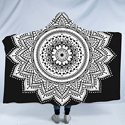 619b167a522 Image Unavailable. Image not available for. Color  Sleepwish Mandala Hooded  Blanket Black and White ...