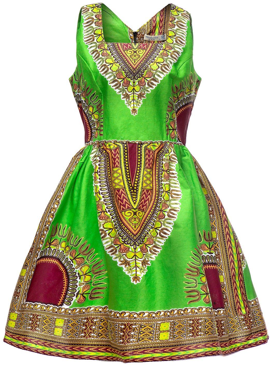 Shenbolen Woman African Print Dress Dashiki Traditional Dress Party Dresses (Small, E)