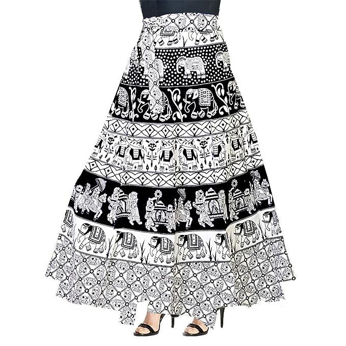 6e1b860b744 Khushi Print Cotton Women s Jaipuri Skirt-(WRAP Around Multi Color   Free  Size)  Amazon.in  Clothing   Accessories