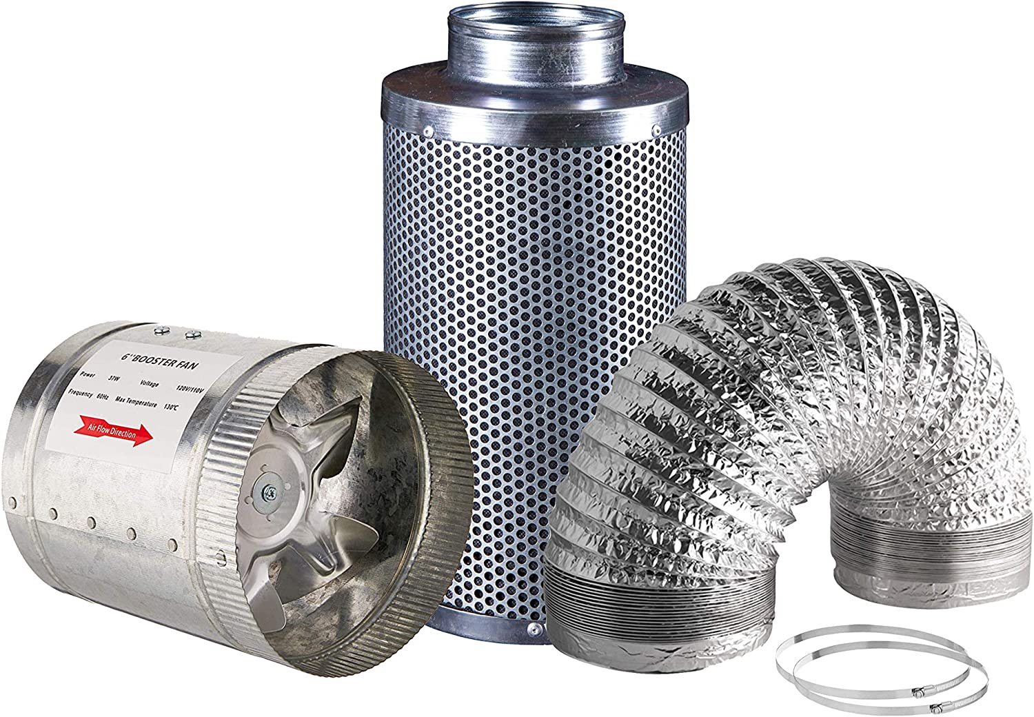 """Hydro Crunch 6 inch 240 CFM Booster Fan & 6"""" x 12"""" Carbon Filter with 6"""" x 25ft. Ducting Hydroponic Ventilation Kit"""