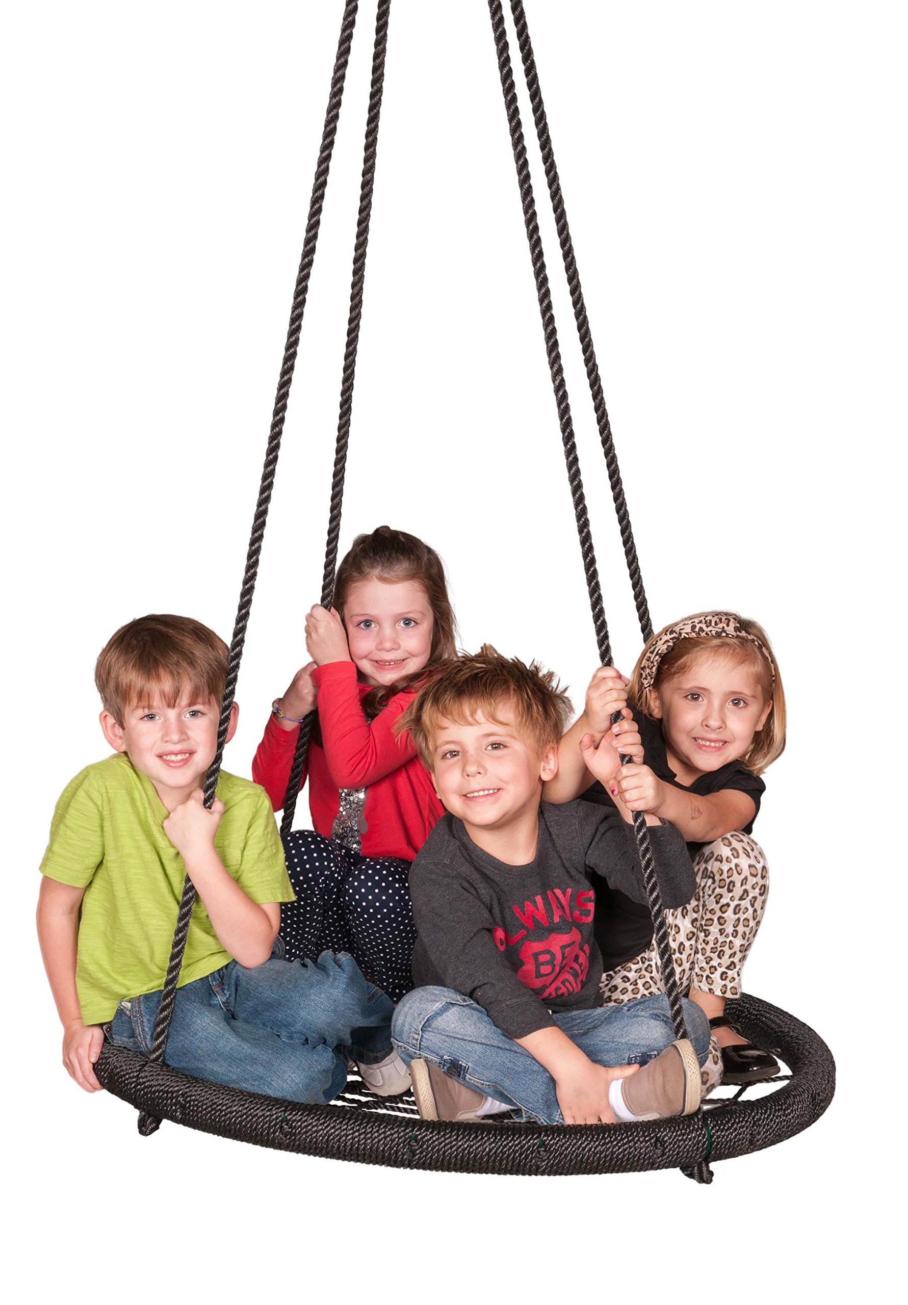 M & M Sales Enterprises Web Riderz Outdoor Swing N' Spin- Safety rated to 600 lb, 39 inch diameter, Adjustable hanging ropes, Ready to hang and enjoy as a family