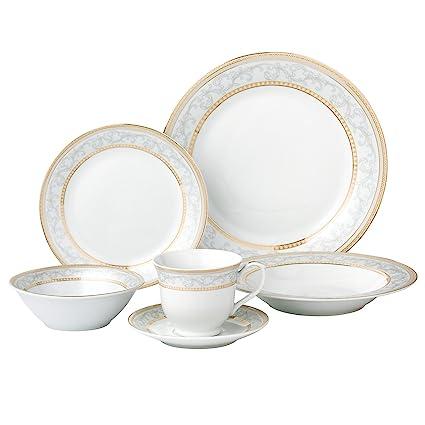 Lorren Home Trends 24 Piece Porcelain Dinnerware Set Giada Gold  sc 1 st  Amazon.com & Amazon.com | Lorren Home Trends 24 Piece Porcelain Dinnerware Set ...