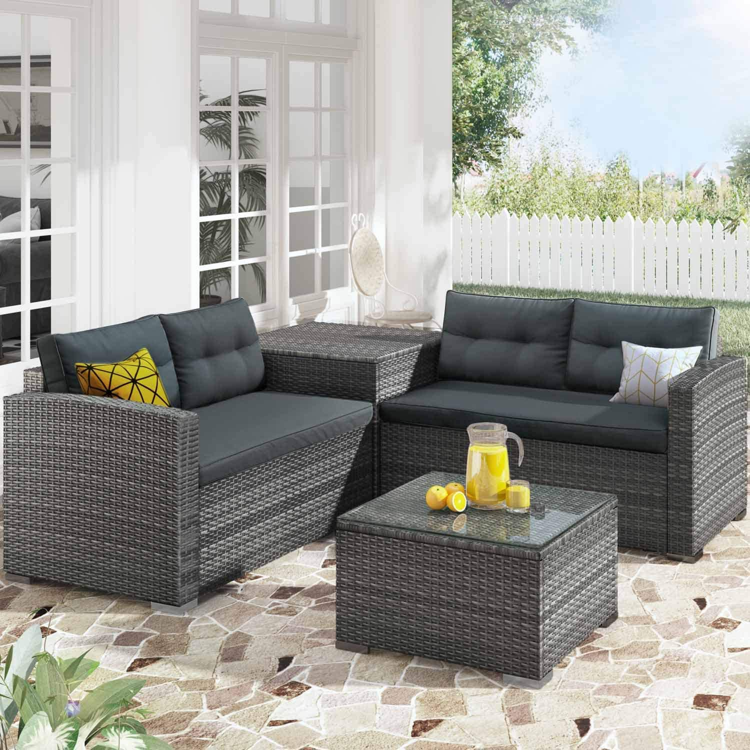 NICESOUL Outdoor Patio Furniture Sofa Set 4-Seatings with Large Storage Box and Coffe Table PE Rattan Wicker Conversation Sets (Grey)