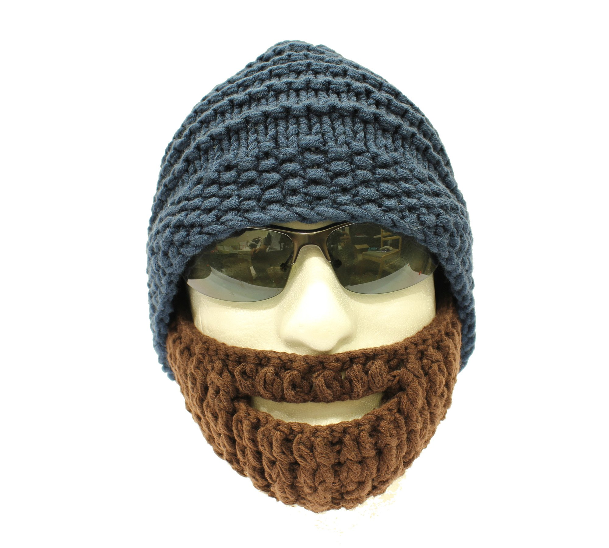 72e3fed47 Knitted Beard Hat, Hand Knitted Bearded Beanie Hat, with Brown Beard - Cool  Beanie Hats