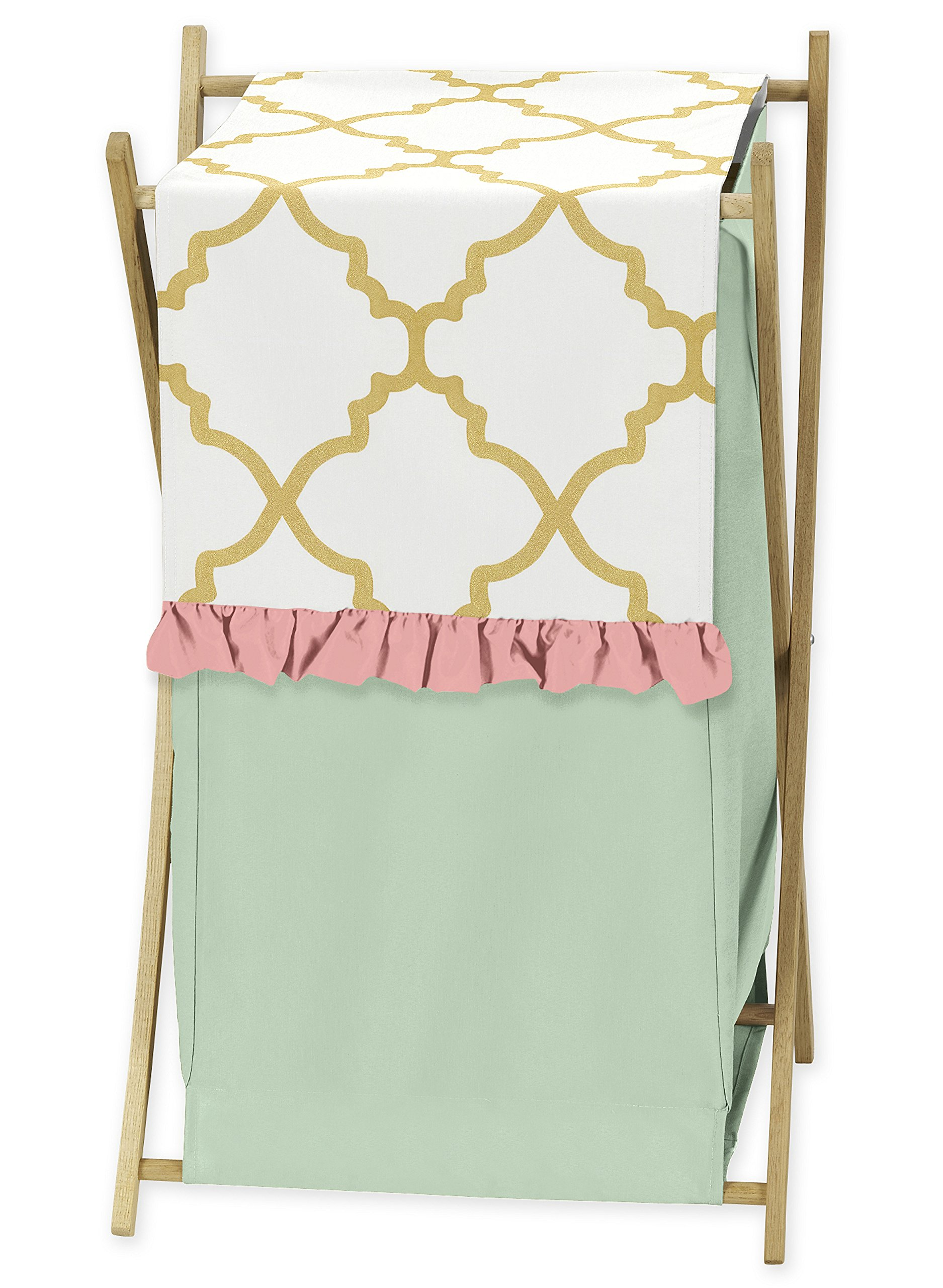 Sweet Jojo Designs Clothes Laundry Hamper for Ava Mint Coral White and Gold Trellis Girls Bedding Collection