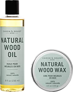Caron & Doucet - Natural Wood Conditioning Oil and Wax Bundle - 100% Plant Based Wood Conditioning and Polishing Oil - Orange Scented - Suitable for Natural Wood Furniture. (8oz)