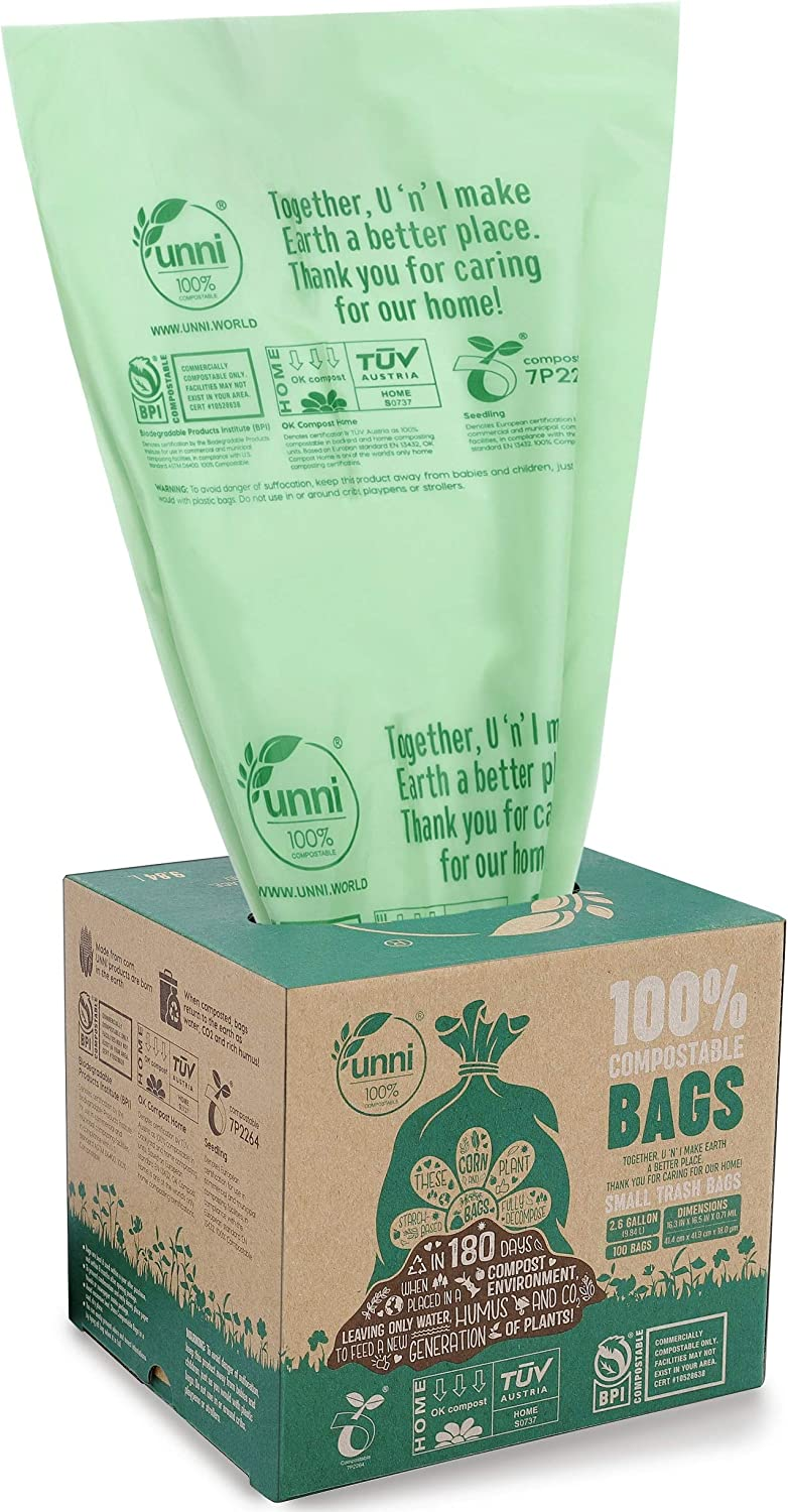 UNNI ASTM D6400 100% Compostable Trash Bags, 2.6 Gallon, 9.84 Liter, 200 Count, Extra Thick 0.71 Mils, Food Scrap Small Kitchen Trash Bags, US BPI and Europe OK Compost Home Certified, San Francisco