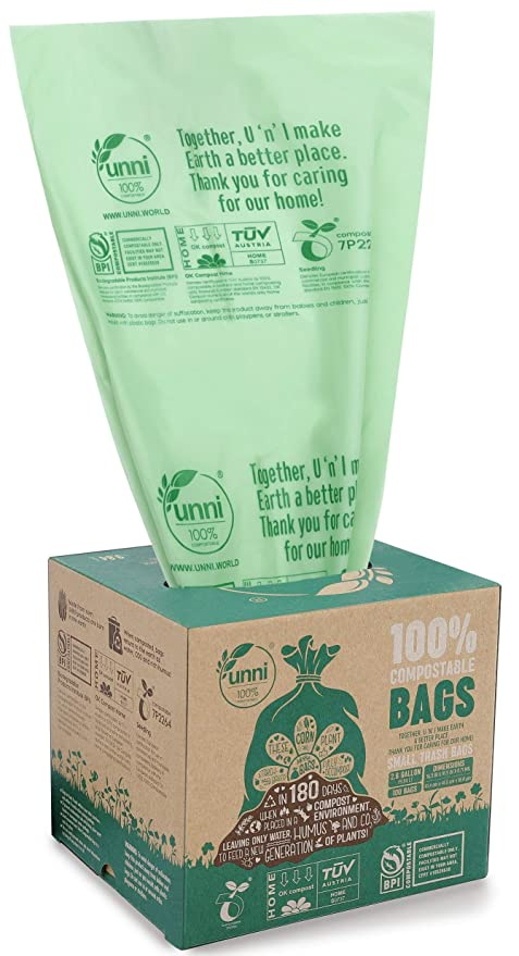 Unni?Certified~6400 100% Compostable Small Kitchen Trash Bags ...